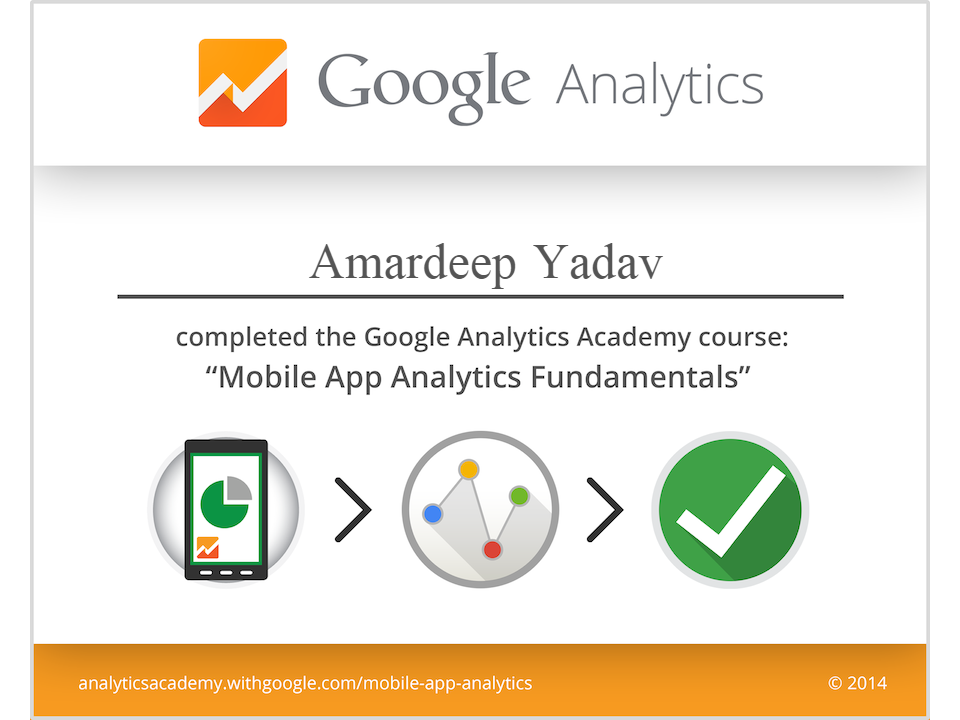 Google Certification of Mobile App Analytics | SEO Consultant India
