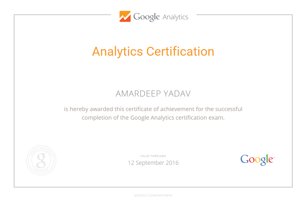 Google Analytics Certification - Amardeep Yadav